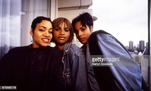 US hip hop trio Salt N Pepa group portrait with DJ Spinderella London United Kingdom 1990 Cheryl James Sandra Denton and Deidra Roper