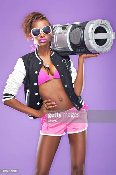 Hip Hop Woman with Ghettoblaster