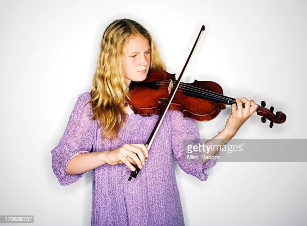 Hip Twelve Year Old Blonde Girl Playing Violin