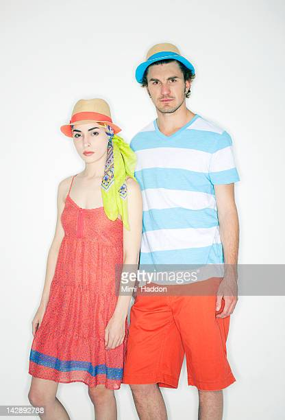 Hip Young Couple in Colorful Clothing