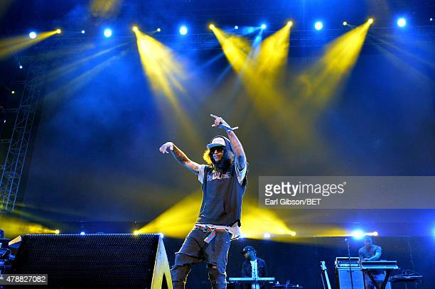Hiphop artist AbSoul performs onstage during the Ice Cube Kendrick Lamar Snoop Dogg Schoolboy Q AbSoul Jay Rock concert at Staples Center on June 27...
