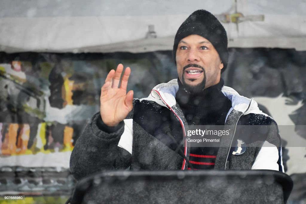 Hip-hop artist and actor Common speaks onstage at the Respect Rally in Park City on January 20th, 2018 in Park City, Utah.