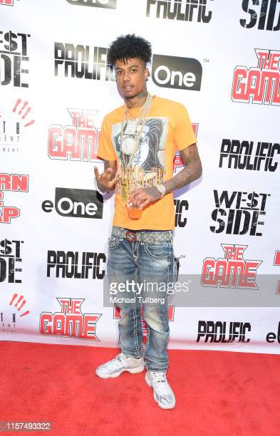"""Hip-hop artist Blueface attends a listening event for The Game's new album """"Born 2 Rap"""" at Hollywood Roosevelt Hotel on June 21, 2019 in Hollywood,..."""