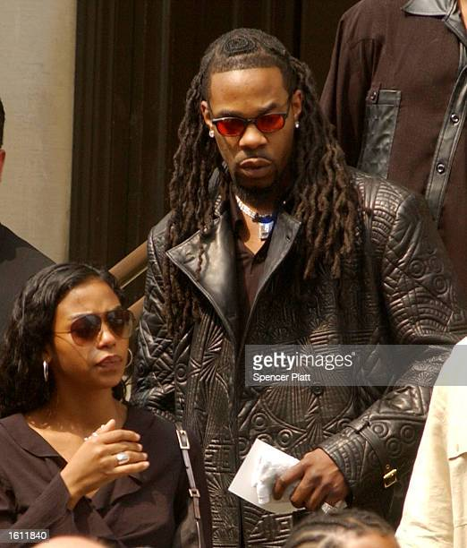 HipHop artist Busta Rhymes exits the funeral service for the late RB singer Aaliyah August 31 2001 at St Ignatius Loyola Church in New York City The...