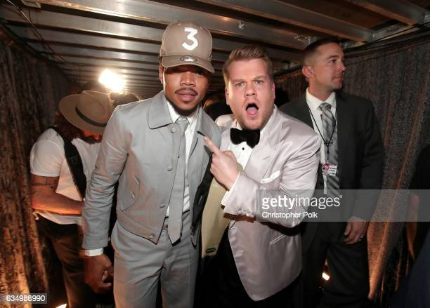 HipHop Artist Chance The Rapper and GRAMMY Awards host James Corden attend The 59th GRAMMY Awards at STAPLES Center on February 12 2017 in Los...