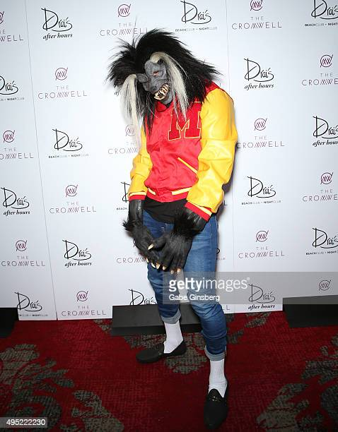 Hiphop artist Chris Brown dressed as a werewolf from Michael Jackson's iconic music video Thriller attends THRILLER presented by legendary music...