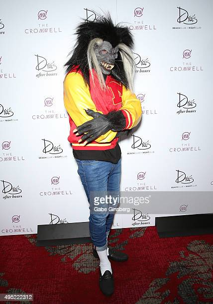 Hiphop artist Chris Brown dressed as a werewolf from Michael Jackson's iconic music video 'Thriller' attends THRILLER presented by legendary music...