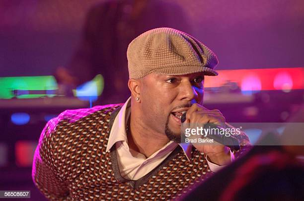 Hiphop artist Common performs during a pretaped segment for MTV's New Year Of Music at MTV TRL Studios on December 29 2005 in New York City