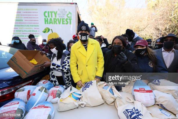 Hip-hop artist French Montana distributes turkeys to New Yorkers in need in South Bronx on November 23, 2020 in New York City.