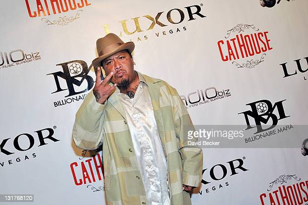 Hiphop artist Godfather arrives at the Billionaire Mafia/Spliff Star party at the CatHouse at the Luxor Resort Casino on April 17 2010 in Las Vegas...