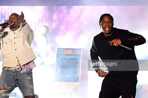 Hiphop artist Kanye West and rapper A$AP Rocky perform onstage during day 1 of the 2016 Coachella Valley Music Arts Festival Weekend 1 at the Empire...