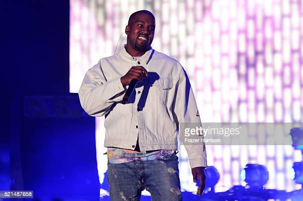 Hiphop artist Kanye West performs onstage during day 1 of the 2016 Coachella Valley Music Arts Festival Weekend 1 at the Empire Polo Club on April 15...