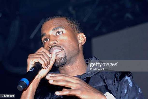 Hiphop artist Kanye West speaks at the Kanye West listening party at New World Stages on August 28 2007 in New York City