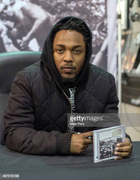 Hiphop artist Kendrick Lamar signs copies of his new album To Pimp A Butterfly at Rough Trade NYC record store on March 20 2015 in New York City
