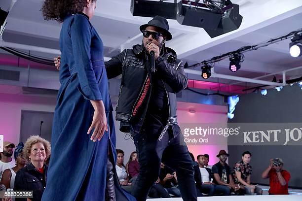 Hiphop artist Kent Jones performs as models walk the runway during the BET How To Rock Denim show at Milk Studios on August 10 2016 in New York City