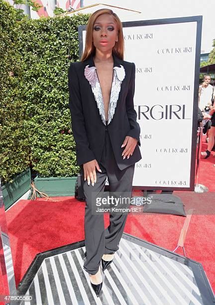Hiphop artist Lil' Mama attends the Cover Girl Glam Stage during the 2015 BET Awards at the Microsoft Theater on June 28 2015 in Los Angeles...