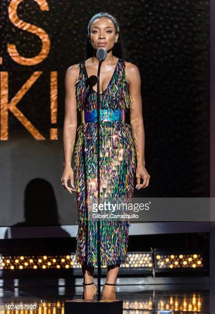 Hiphop artist Lil Mama speaks on stage during the 2018 Black Girls Rock at New Jersey Performing Arts Center on August 26 2018 in Newark New Jersey