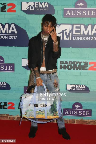 US hiphop artist Swae Lee poses on the red carpet arriving to attend the 2017 MTV Europe Music Awards at Wembley Arena in London on November 12 2017...