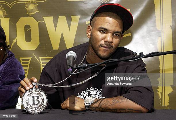Hiphop artist The Game holds a press conference to announce his How The West Was One US Tour with Snoop Dogg on April 6 2005 in Los Angeles California