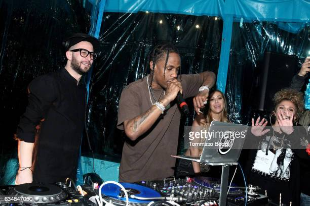 Hiphop artist Travis Scott performs at the Travis Scott / Cactus Jack party at the private residence of Jonas Tahlin CEO Absolut Elyx on February 11...