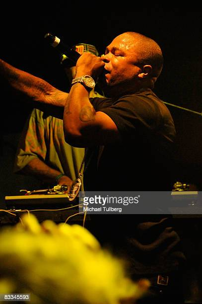 Hiphop artist Xzibit performs at the benefit grand opening of celebrity vehicle customization shop Galpin Auto Sports on October 18 2008 in Van Nuys...