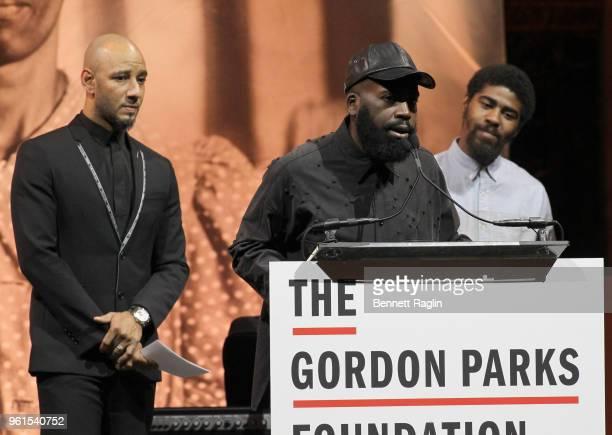 HipHop Artist/Presenter Kasseem Swizz Beatz Dean Gordon Parks Foundation Fellow Derrick Adams and Author Devin Allen speak on stage during Gordon...