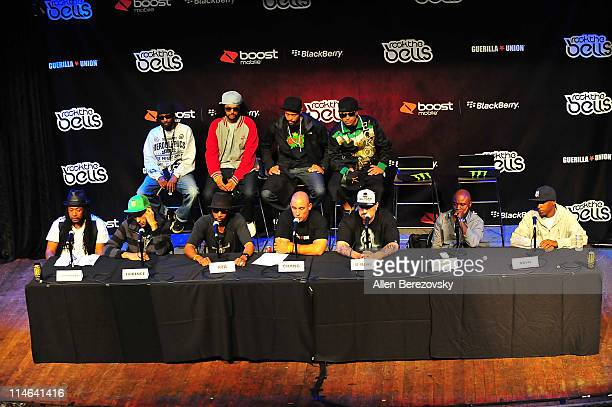 Hiphop artists APlus Opio Tajai DJ Lex Supernatural Evidence RZA Chang Weisberg BReal Havoc and Big Noyd answer questions at the Rock The Bells 2011...