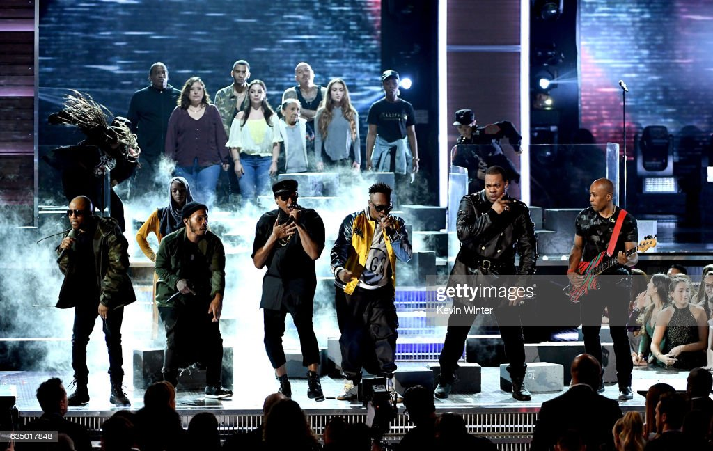 Hip-hop artists Consequence, Anderson .Paak:Q-Tip, Jarobi White, Busta Rhymes and Ali Shaheed Muhammad perform onstage during The 59th GRAMMY Awards at STAPLES Center on February 12, 2017 in Los Angeles, California.