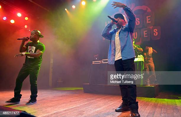 Hiphop artists Havoc and Prodigy of Mobb Deep perform at House of Blues Sunset Strip on April 16 2014 in West Hollywood California