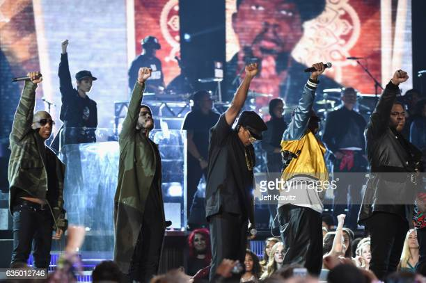 Hiphop artists Jarobi White Ali Shaheed Muhammad and QTip of A Tribe Called Quest with guests Anderson Paak and Busta Rhymes perform onstage during...