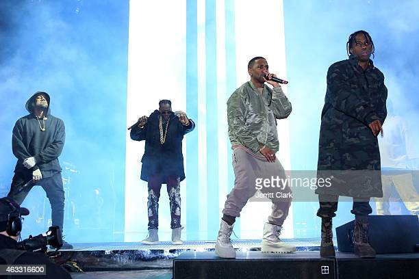 Hiphop artists Kanye West 2 Chainz Big Sean and Travis Scott perform during ROC NATION SPORTS Rn 1st Annual Roc City Classic starring Kevin Durant x...