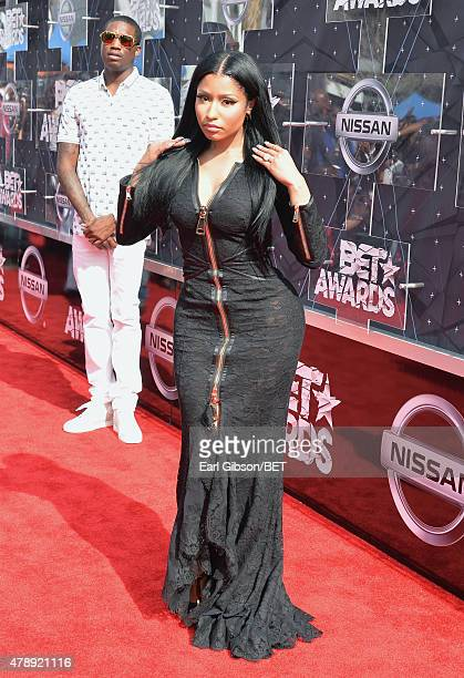 Hiphop artists Nicki Minaj and Meek Mill attend the 2015 BET Awards at the Microsoft Theater on June 28 2015 in Los Angeles California