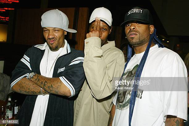 HipHop artists Redman RZA and Method Man pose at the afterparty for the premiere of Miramax's 'Hero' at the Arclight Theater on August 17 2004 in Los...