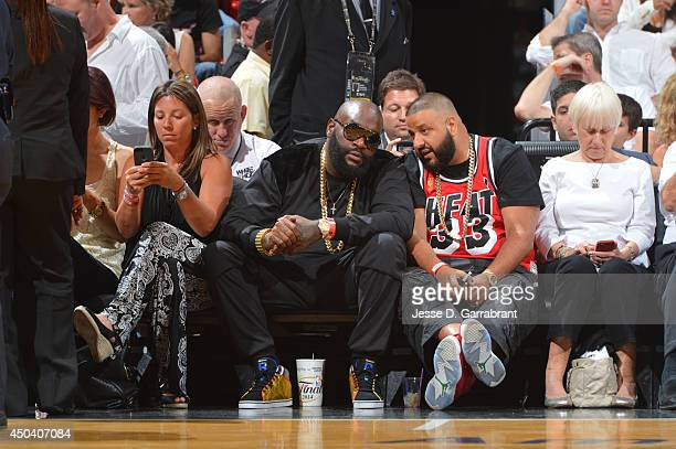 HipHop artists Rick Ross and DJ Khaled attend Game Three of the 2014 NBA Finals between the San Antonio Spurs and the Miami Heat on June 10 2014 at...