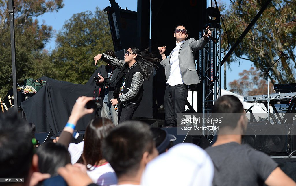 Hip-Hop band Far East Movement perform at the Kaiser Permanente Rock 'n' Roll Half Marathon and Mini Marathon finish line to benefit CureMito! at the Rose Bowl on February 17, 2013 in Pasadena, California.
