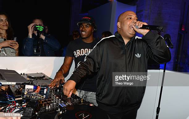 HipHop legends Rev Run and DJ Ruckus perform at the Samsung Experience Shop Best Buy Official Launch Event at Cunard Hall on April 25 2013 in New...