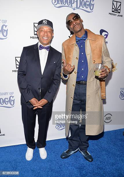Hiphop mogul Russell Simmons and hiphop artist Snoop Dogg attend Fusion's All Def Roast The Smoked Out Roast Of Snoop Dogg at Avalon Hollywood on...