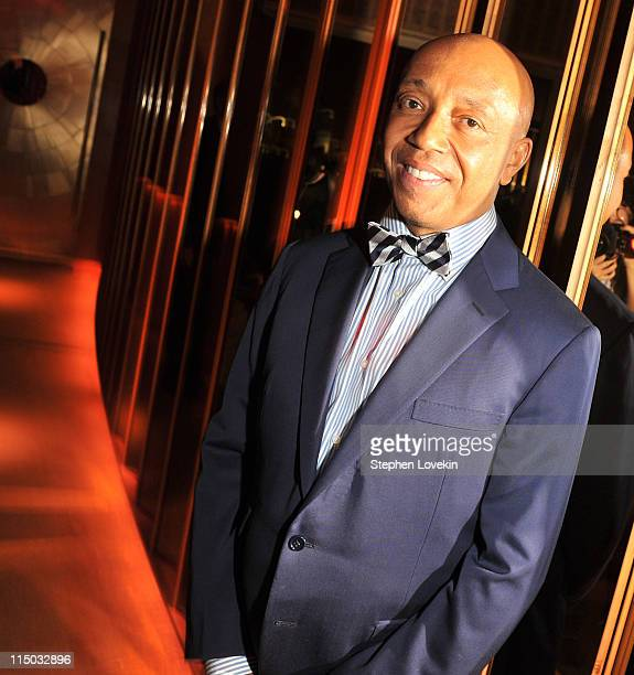 Hiphop mogul Russell Simmons attends the after party for the Gucci Cinema Society the Film Foundation screening of La Dolce Vita at the Top of The...