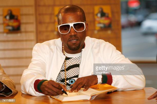 Hiphop performer Kanye West atends a book signing for his mother Donda West's book Raising Kanye Life Lessons from the Mother of a HipHop Superstar...