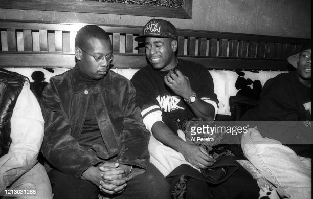 HipHop Producer/Executive/Label Head Andre Harrell relaxes in a nightclub VIP area by chatting with Rapper Kurtis Blow on November 12 1994 in New...