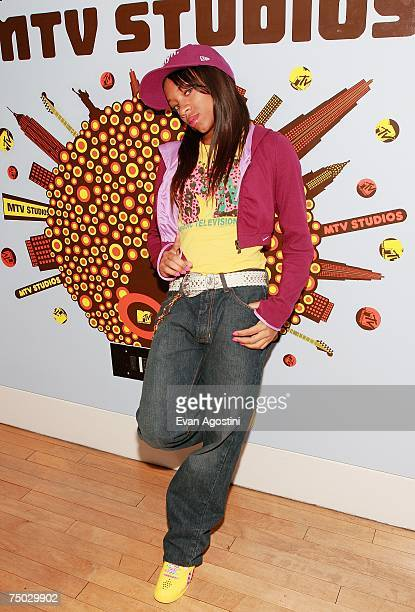 OUT* Hiphop recording artist Lil Mama poses backstage after appearing on MTV's Total Request Live at MTV Studios July 3 2007 in New York City