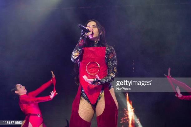 Hip-hop singer Mala Rodriguez during the performance in the Joy Eslava room in Madrid. November 11, 2019. Spain