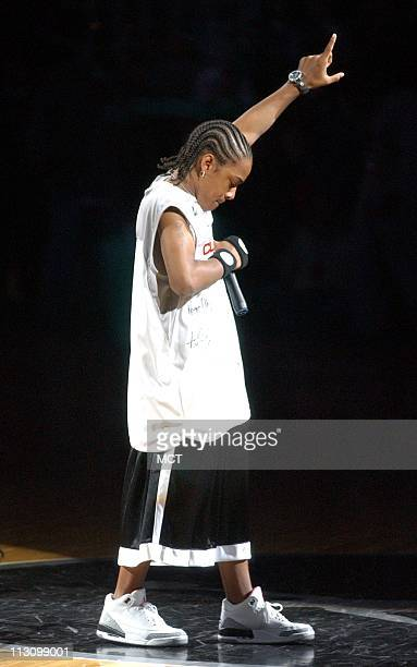 Hiphop star Bow Wow performs at the 2003 Jordan Capital Classic high school allstar basketball game Thursday April 17 in Washington DC