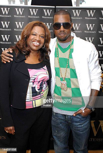 US hiphop star Kanye West attending a book signing with his mother Donda West for her new book Raising Kanye Life Lessons From The Mother Of A HipHop...