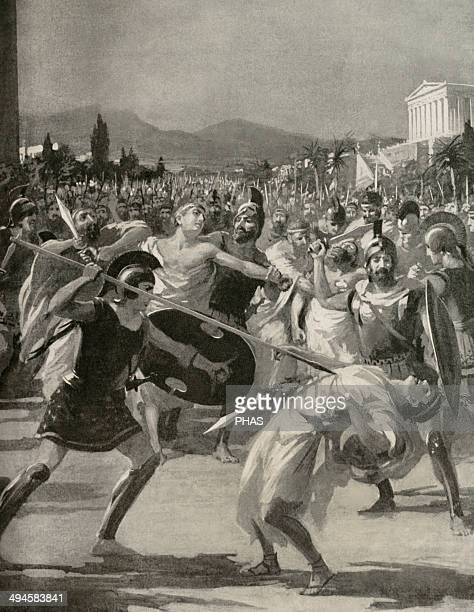 Hipparchus Tyrant of Athens Assassination of Hipparchus by the Tyrannicides Harmodius and Aristogeiton History of the Nations Engraving 19th century