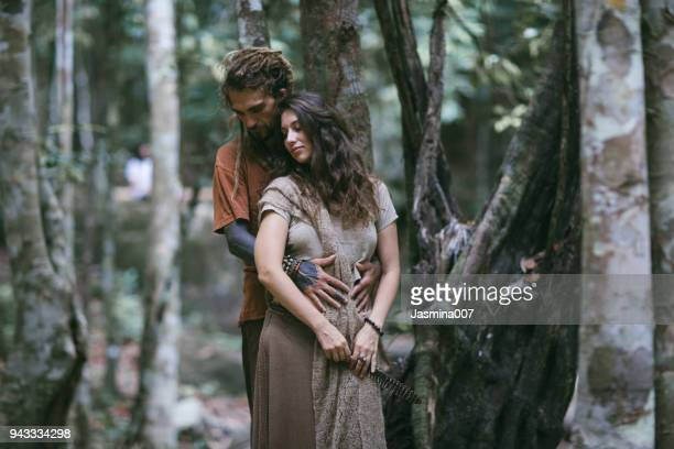 Hippie couple in forest