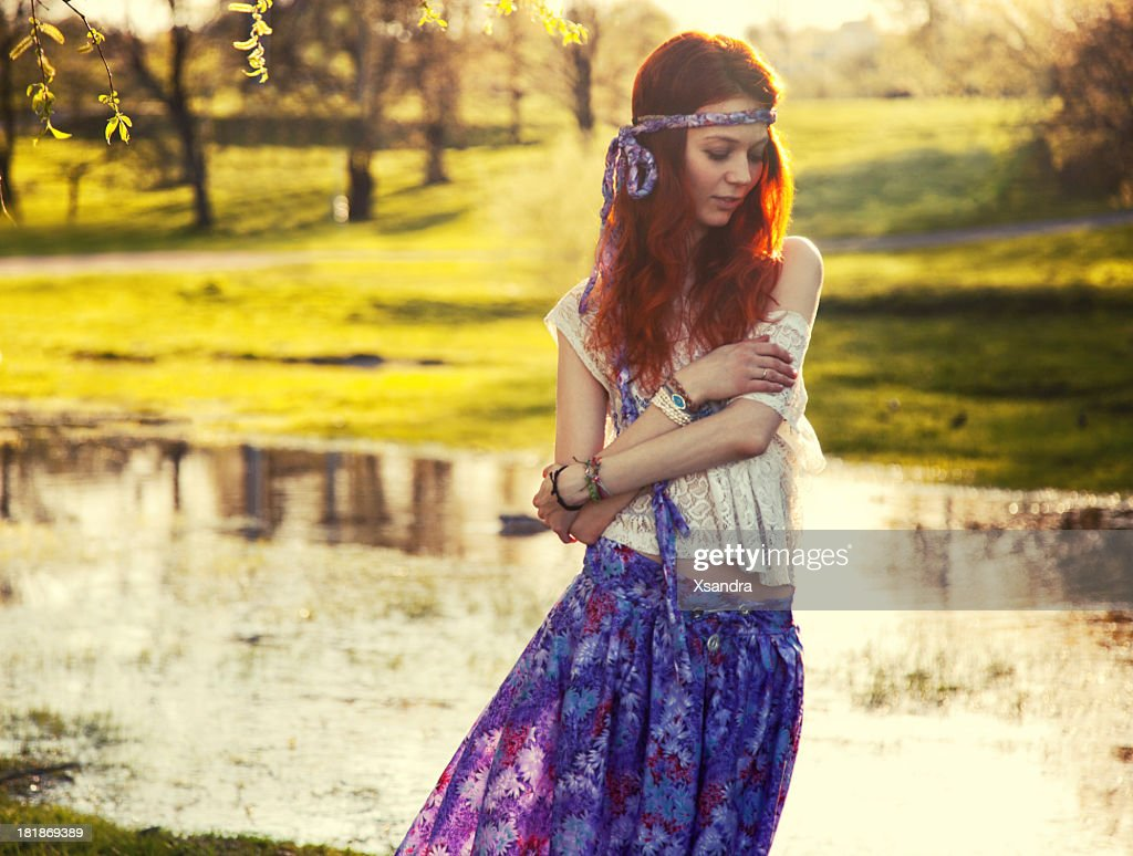 Hippie girl portrait : Stock Photo