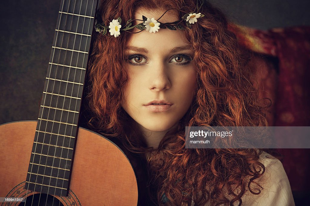 hippie girl with acoustic guitar : Stock Photo