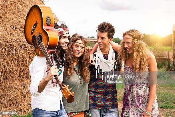 Hippie group smiling together