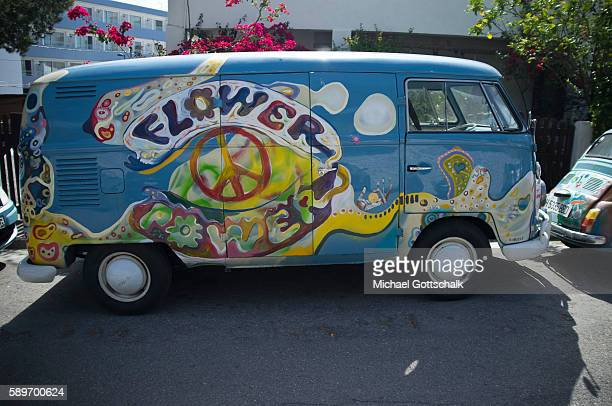 Hippie paintings on a car on Ibiza island on May 12 2016 in Ibiza Spain